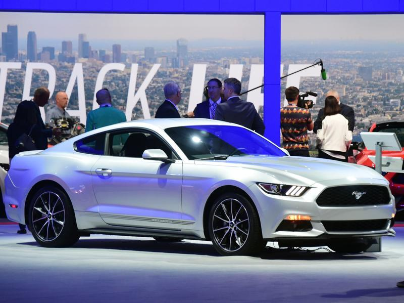 One of the most special cars in motorsports history, the 2016 Ford Mustang Coupe is unveiled at the 2015 Los Angeles Auto Show. (AFP)