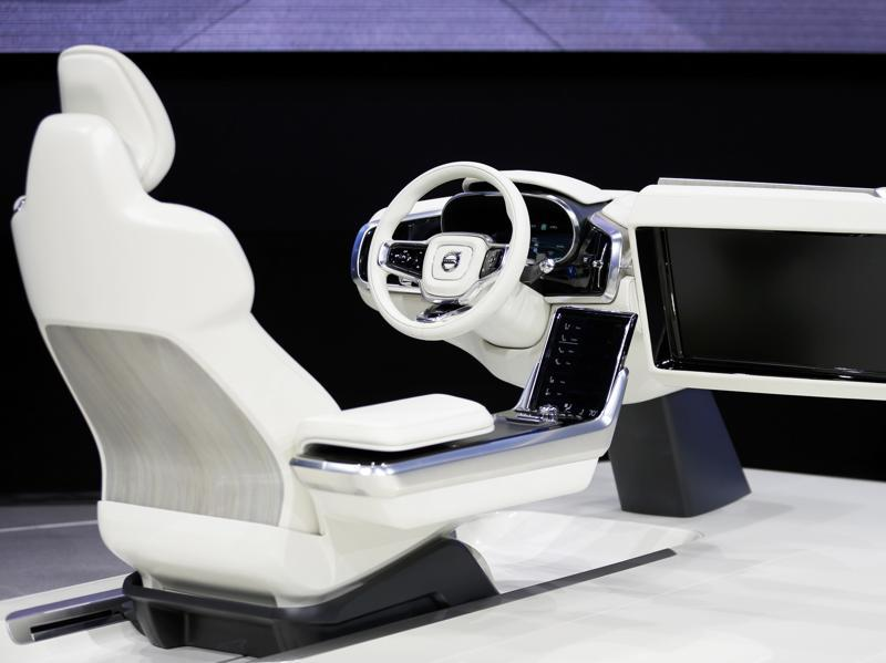 Volvo showcased its concept cabin of the automated driving vehicle, set for release in 2017, at the Los Angeles Auto Show.  (REUTERS)