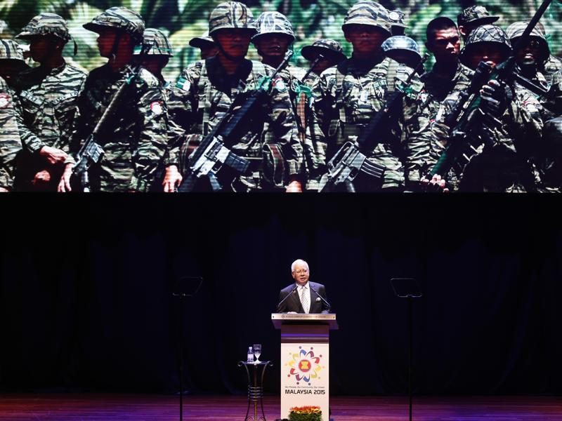 Malaysian Prime Minister Najib Razak speaks about anti-terrorism policies at the opening ceremony of the ASEAN Summit. (AP)