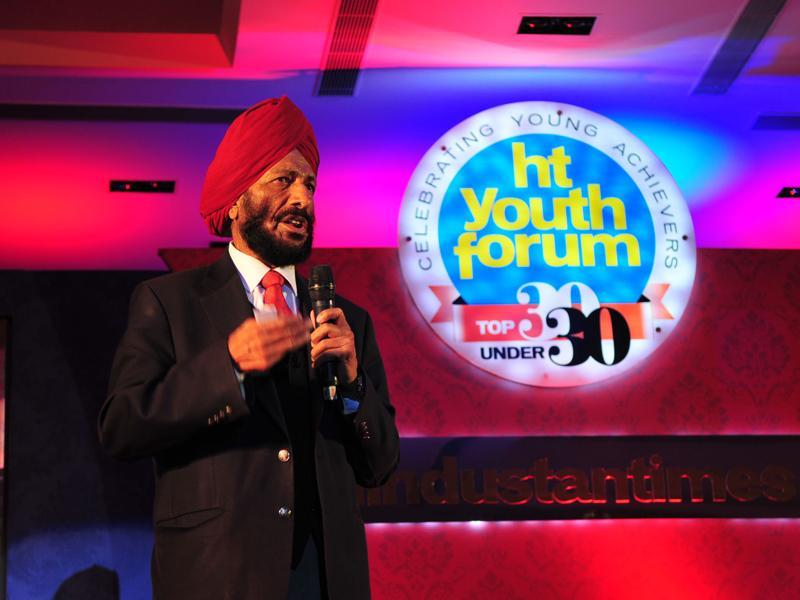 """I want the youth to get for India the medal I missed in the 1960 Rome Olympics,"" the Flying Sikh  said, while addressing the gathering at The Lalit, Chandigarh. (Gurpreet Singh/HT Photo)"