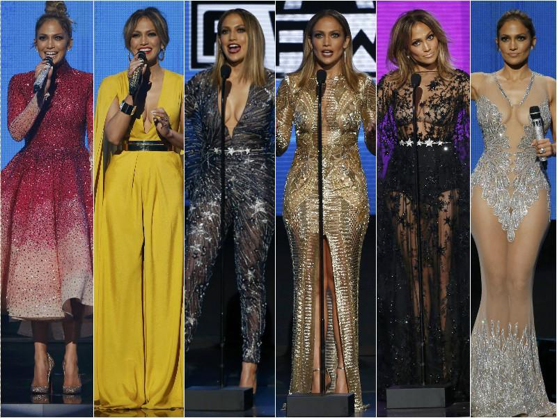 The many looks of host and singer Jennifer Lopez through the night. (Agencies)