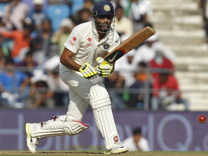 Ravindra Jadeja plays a shot during India's first innings. He scored 34. (Reuters Photo)