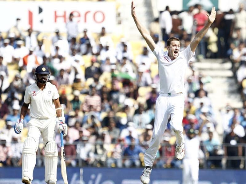 South Africa bowler Morne Morkel celebrates the wicket of Murali Vijay. (Santosh Harhare/HT Photo)