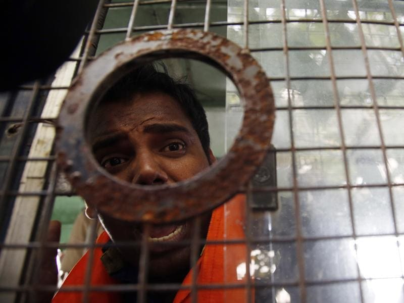 A Hindu Sena activist shouts slogans after he was arrested by police outside Bollywood actor Aamir Khan's residence in Mumbai on Tuesday, Nov. 24, 2015.  (AP)
