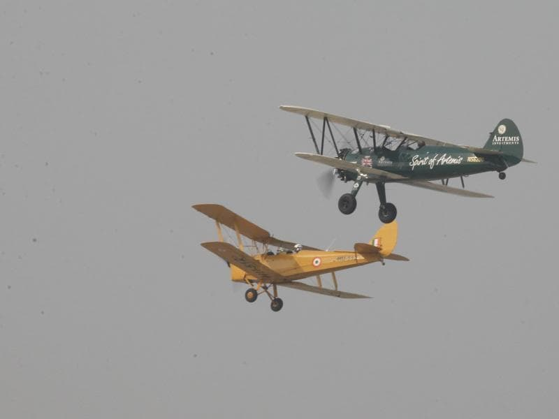 Taylor's Boeing biplane (R) is part of the adventurer's attempt at simulating the flying conditions of the 1930s. (Raj K Raj/ HT Photo)