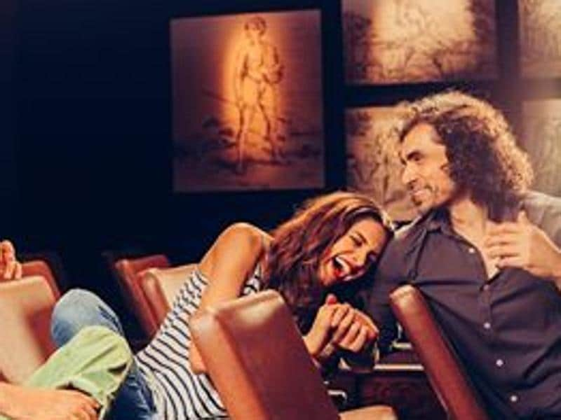 Deepika Padukone and director Imtiaz Ali share a light moment on the sets of Tamasha. (FACEBOOK)