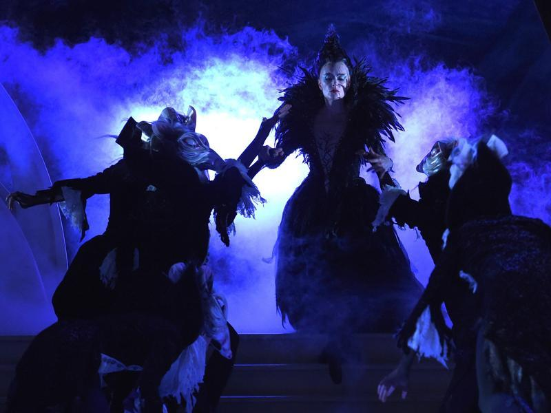 Revie (centre) as the evil Caraboss in another sequence from the musical. (AFP)