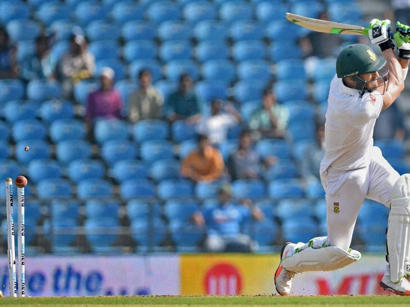 South Africa's Faf du Plessis is bowled by Ravindra Jadeja. (PTI Photo)