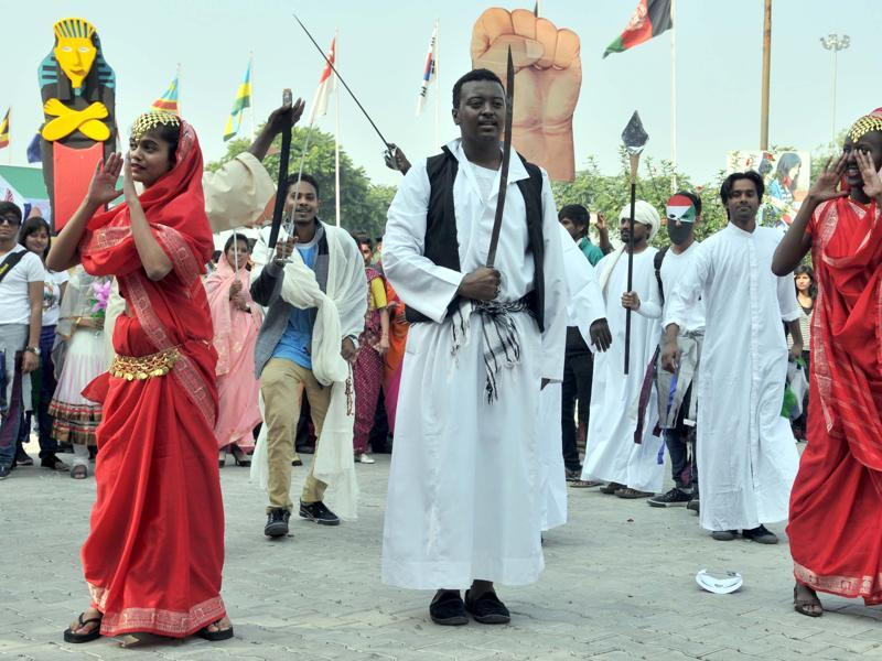 Students from Sudan perform at Lovely Professional University, Jalandhar on Thursday. (Pardeep Pandit/HT Photo)