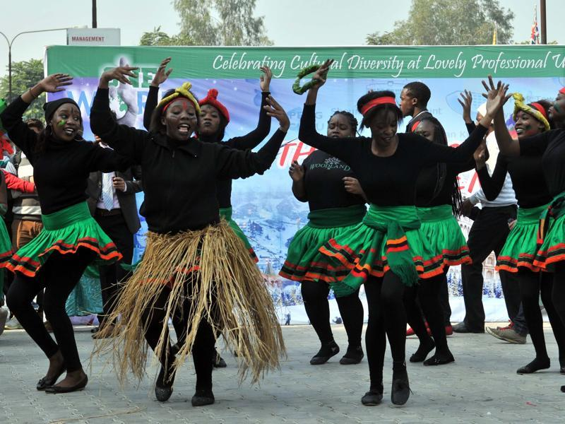 Zambian dance forms usually have a lot of drumming, singing, and clapping and the music is created by using traditionally made musical instruments.  (Pardeep Pandit/HT Photo)
