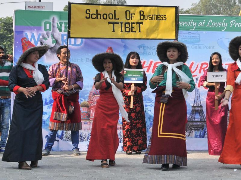 Tibet has a lot of cultural diversity with folk songs and dances playing a major part in it. Tibetan students perform at the LPU's event in Jalandhar on Thursday. (Pardeep Pandit/HT Photo)