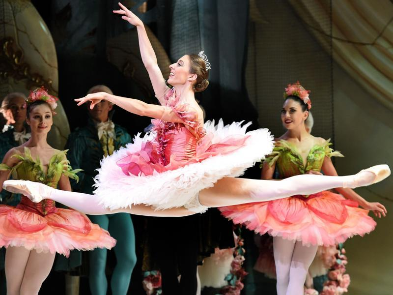 Ballerina Lana Jones (centre) as Princess Aurora during Australian Ballet's The Sleeping Beauty at the Sydney Opera House on November 26. (AFP)