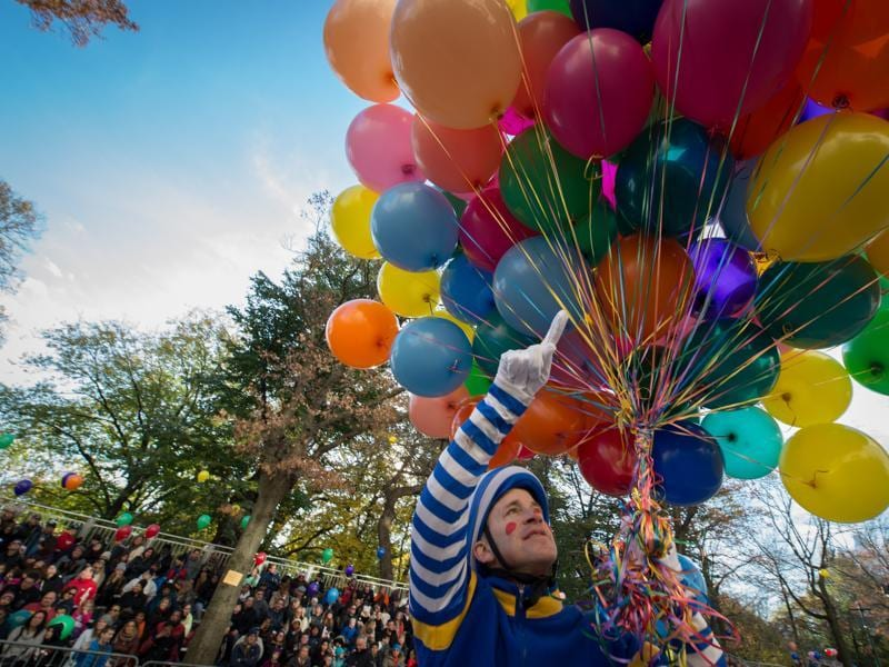 A clown livens up the crowd during the Macy's Thanksgiving Day Parade on Thursday in New York. (AP)