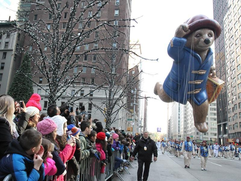 The Paddington Bear balloon makes its way down New York's Sixth Avenue during the Macy's Thanksgiving Day Parade on Thursday. (AP)
