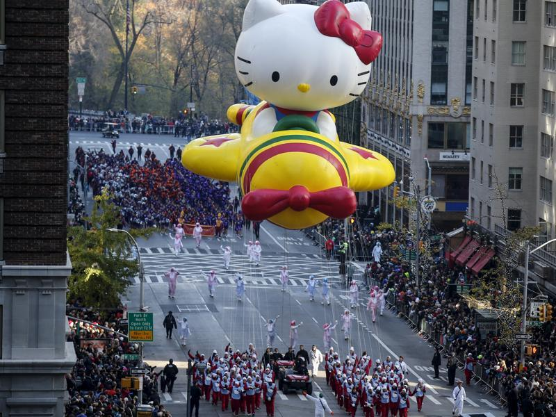 The Hello Kitty balloon makes its way down 6th Avenue during the 89th Macy's Thanksgiving Day Parade in the Manhattan borough of New York on Thursday.  (REUTERS)