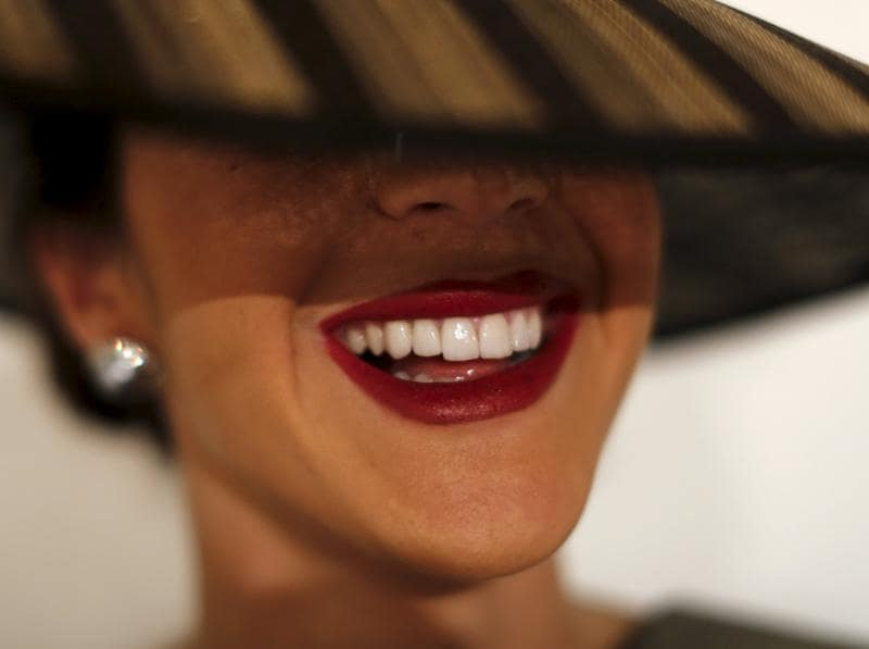 Spanish model Macarena Silva, 23, smiles backstage as she poses for a picture. (REUTERS)