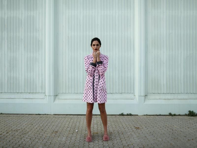 Spanish model Maria Flores, 22, poses backstage during a break in comfy pyjamas but still strikes a gorgeous pose. (REUTERS)