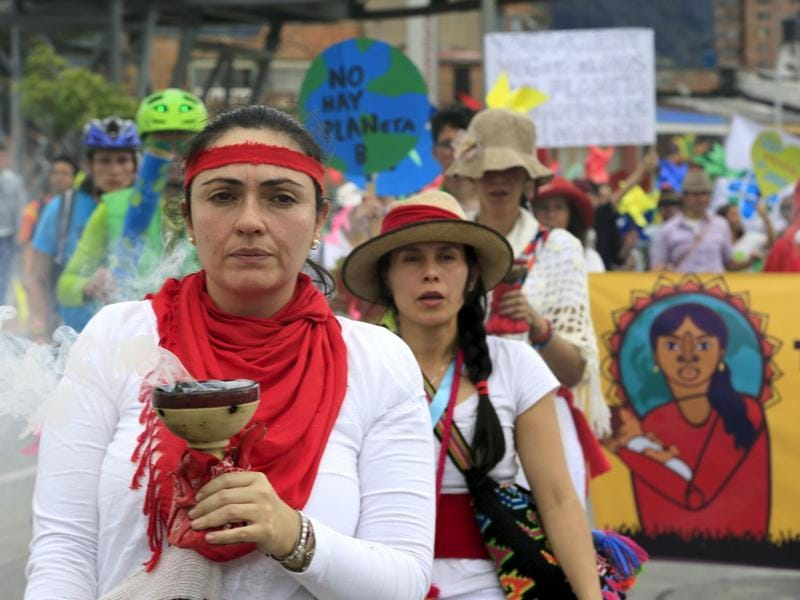 Women activists take part in a march ahead of the 2015 Paris Climate Change Conference in Bogota, Colombia. (Reuters Photo)