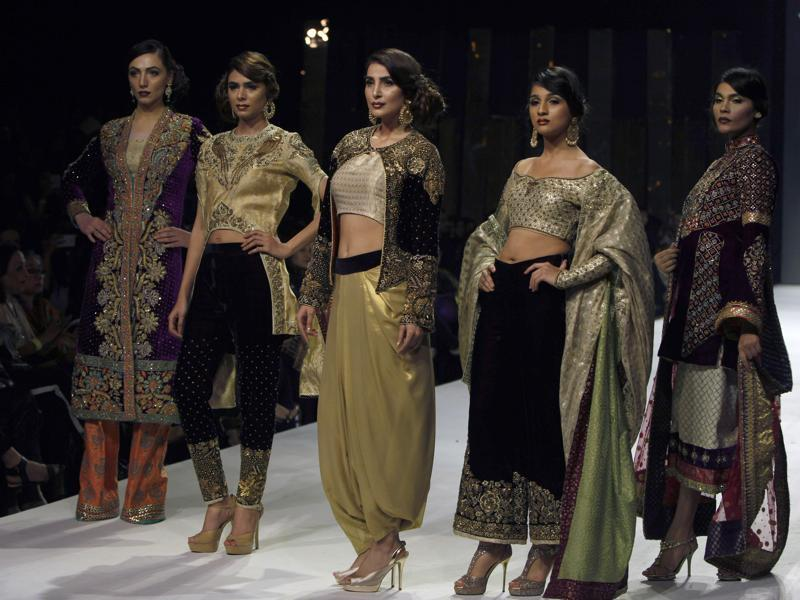 A collection by designer Wardha Saleem at the fashion week.  (AP)