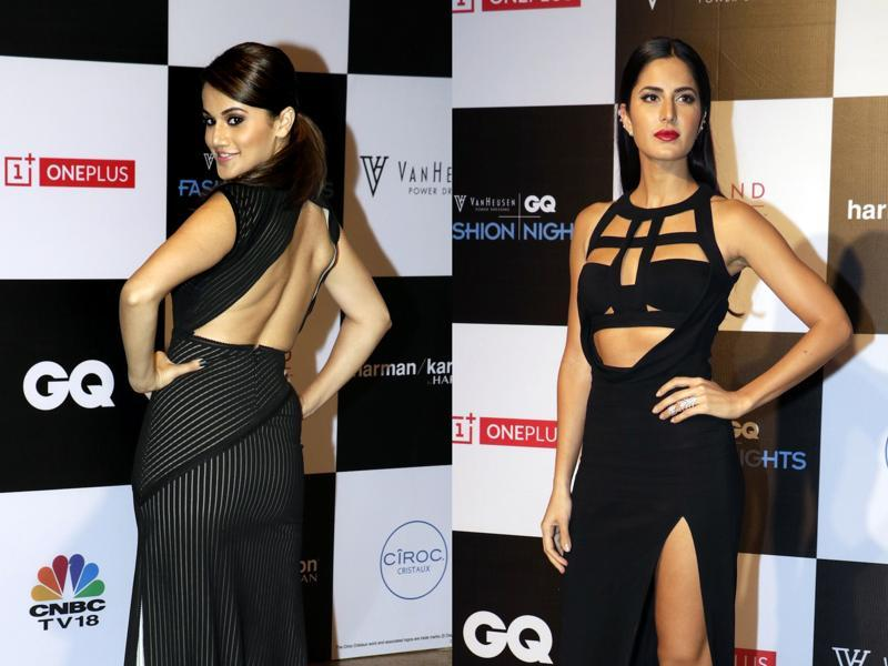 Taapsee Pannu and Katrina Kaif at a fashion show in Mumbai on December 2, 2015. (AFP)