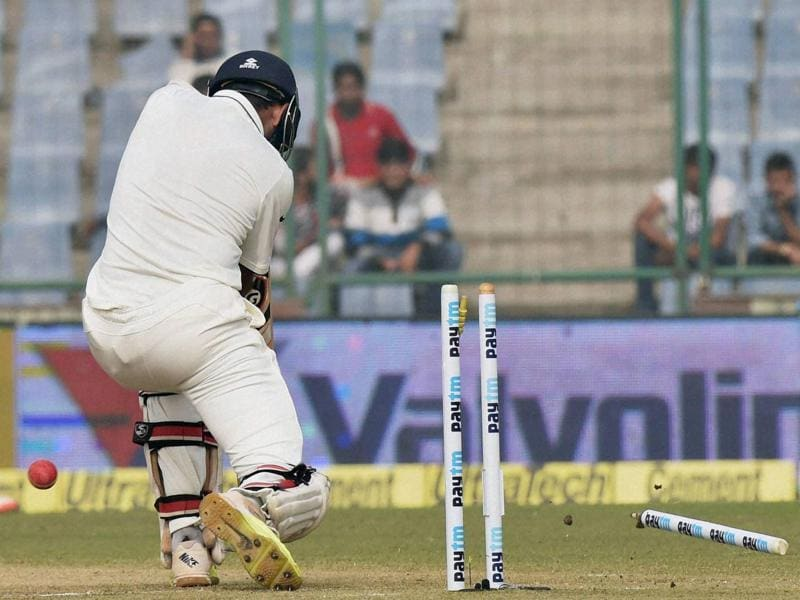 India's Cheteshwar Pujara is bowled by South Africa's Kyle Abbott. (PTI Photo)