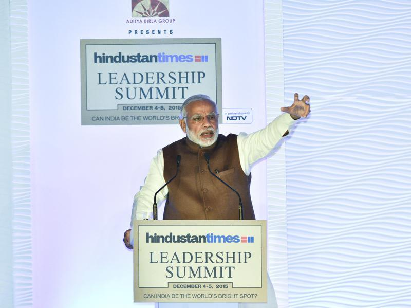 Prime Minister Narendra Modi delivers the opening address at the Hindustan Times Leadership Summit in New Delhi. (Gurinder Osan/HT Photo)