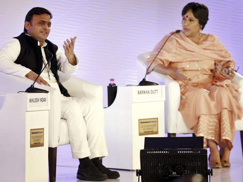 Chief minister of Uttar Pradesh Akhilesh Yadav in conversation with NDTV's consulting editor Barkha Dutt at the Hindustan Times Leadership Summit, in New Delhi. (Hindustan Times)