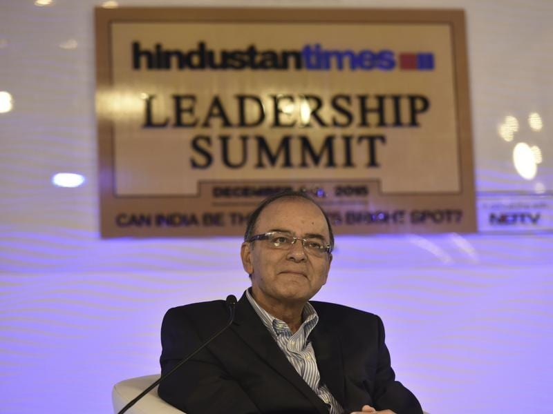 Union finance minister Arun Jaitley speaks at the Hindustan Times Leadership Summit  in New Delhi.  (Ravi Choudhary/HT Photo)