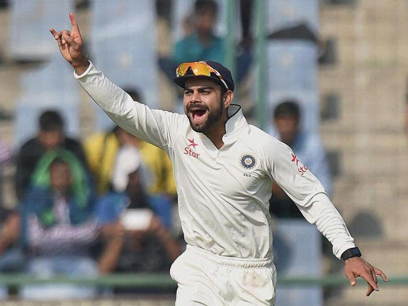 India's captain Virat Kholi celebrates the wicket of South Africa's Dean Elgar. (PTI photo)