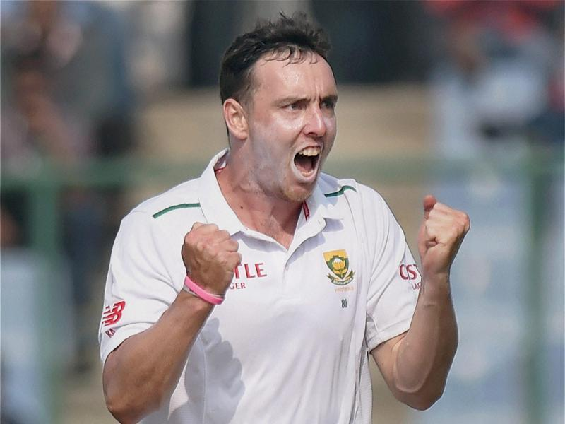 South Africa's Kyle Abbott celebrates the wicket of Ishant Sharma. (PTI photo)