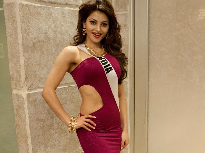 Urvashi Rautela, Miss India 2015, poses for a photo during registration at the Planet Hollywood Resort & Casino in Las Vegas, Nevada. (AFP)