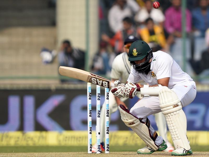 Hashim Amla ducks to avoid a bouncer. (AFP Photo)
