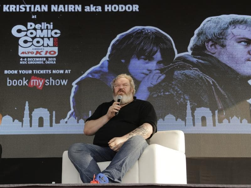 Kristian Nairn, best known for his role as Hodor in Game Of Thrones, speaks to fans at Delhi Comic Con. (AP)