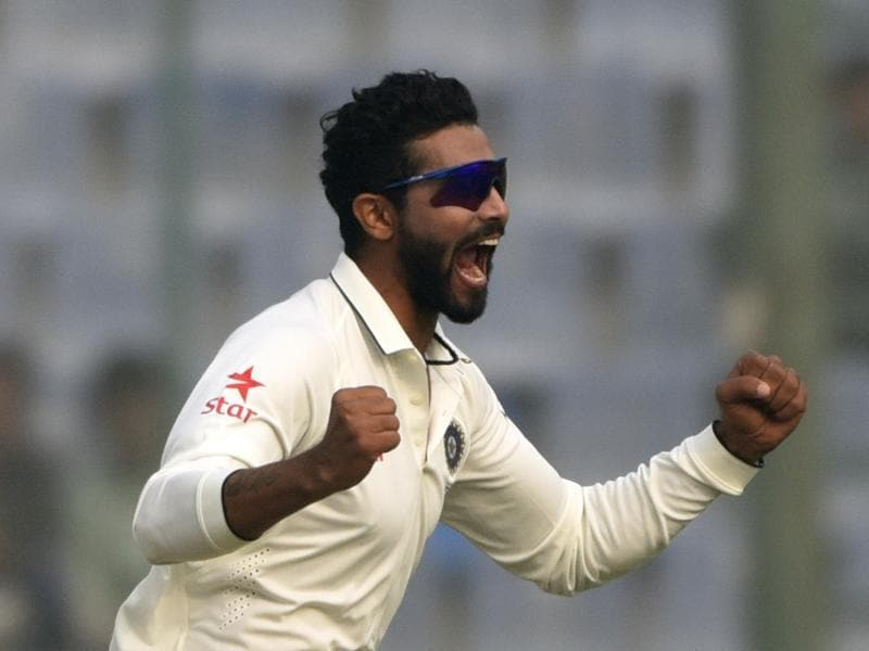 Ravindra Jadeja celebrates after Hashim Amla's wicket in the final Test match of the series against South Africa, at Feroz Shah Kotla ground in New Delhi. (Vipin Kumar/HT Photo)