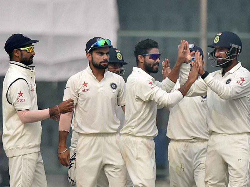 Team India players celebrate the dismissal of Faf du Plessis. (PTI Photo)