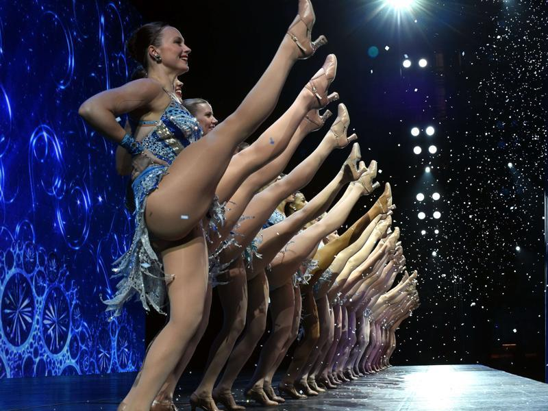 A view from backstage as The Rockettes perform a number during the 2015 Radio City Christmas Spectacular at Radio City Music Hall. (AFP)