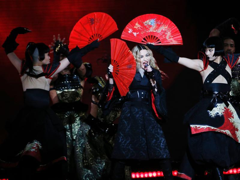 Madonna, 57, still owns the stage as she performs during a concert at the AccorHotels Arena in Paris. (AFP)