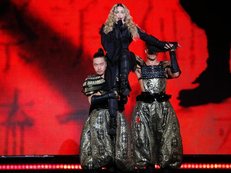 Madonna's performance was all kimonos and samurai as she staged a grand concert in Paris.  (AFP)