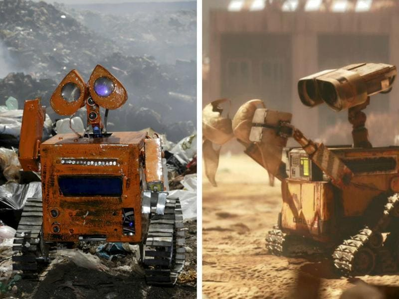 A Bolivian student has managed to make the exact replica of Pixar's WALL-E out of nothing but trash. (Rueters and Pixar)