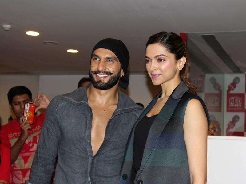 Ranveer Singh and Deepika Padukone during the promotion of Bajirao Mastani in Mumbai on Dec 9, 2015.  (IANS)
