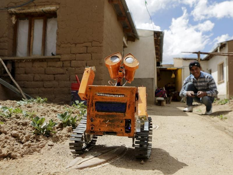 The replica of the WALL-E character is remotely controlled with a mobile phone. (REUTERS)