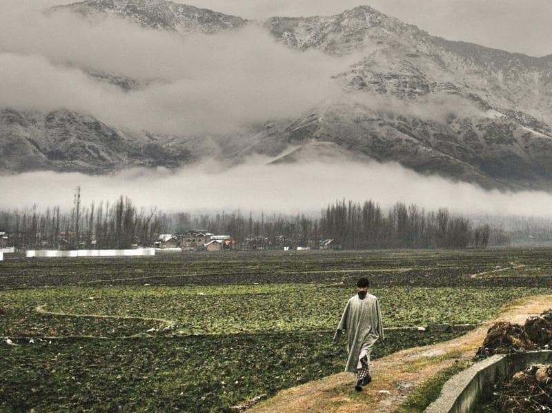 A Kashmiri man walks as mountains stand covered with snow in the background, on the outskirts of Srinagar. (Waseem Andrabi/ HT Photo)