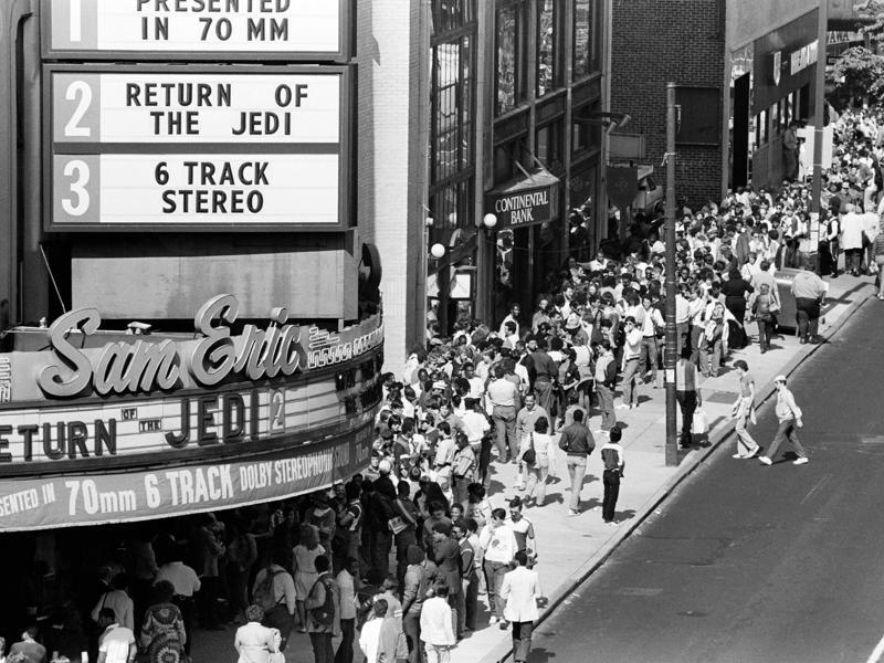 In this May 23, 1983 file photo, movie fans line up on Philadelphia's Chestnut Street in advance for the premiere of the movie, Star Wars: Episode VI - Return of the Jedi.  (AP)