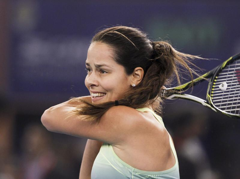 Ana Ivanovic in action against Kurumi Nara during the International Premier Tennis League match between UAE Royals and Legendary Japan Warriors at IG stadium in New Delhi. (Virendra Singh Gosain/HT Photo)