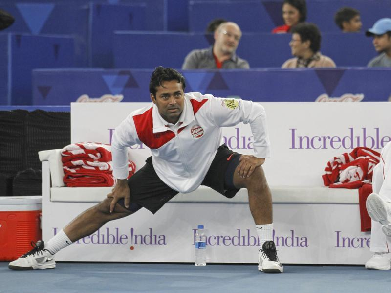 Leander Peas stretches during the International Premier Tennis League match between Legendary Japan Warriors and Obi UAE Royals. (Hindustan Times)