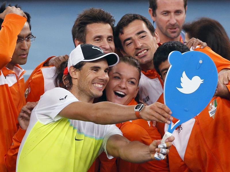 Indian Aces' Rafael Nadal of Spain (2nd L) take a selfie photo with his team members after winning his men's singles match against Philippine Mavericks' Edouard Roger-Vasselin of France (unseen) in the International Premier Tennis League (IPTL) in New Delhi. (REUTERS)