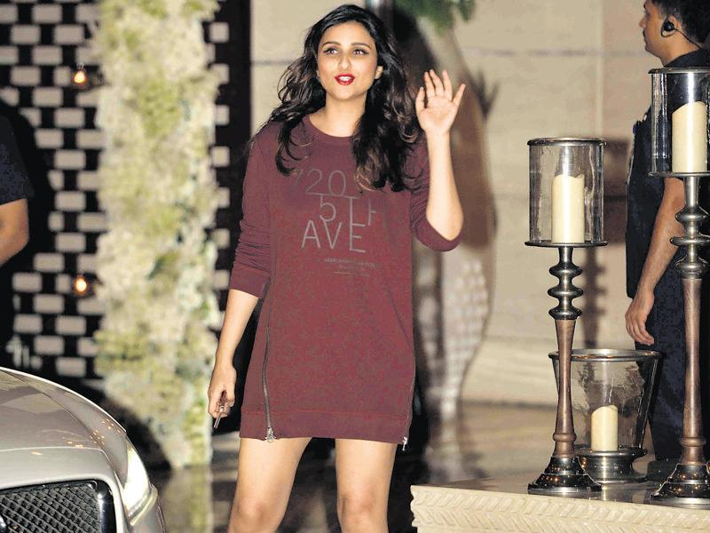 Parineeti Chopra at the event that also celebrated the recent wedding of cricketer Harbhajan Singh with Geeta Basra.  (HT Photo)