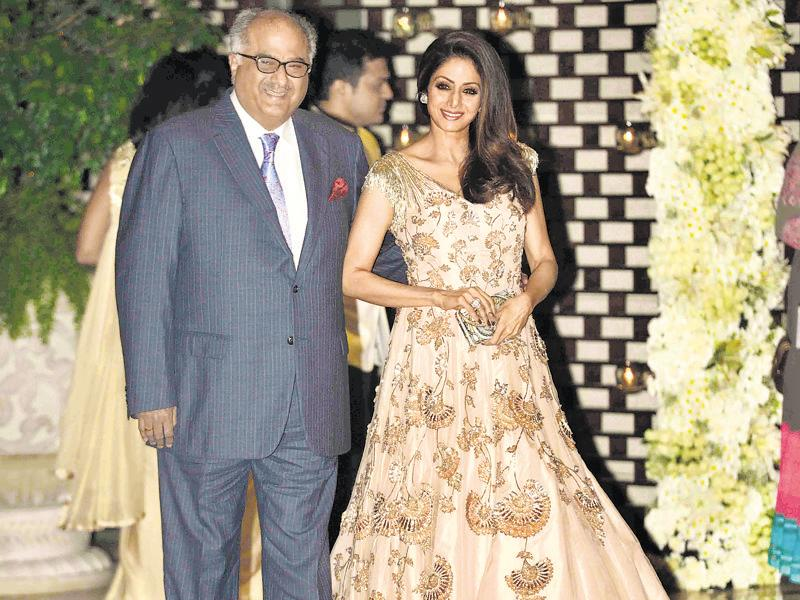 Boney Kapoor and Sridevi smile for the cameras. (HT Photo)