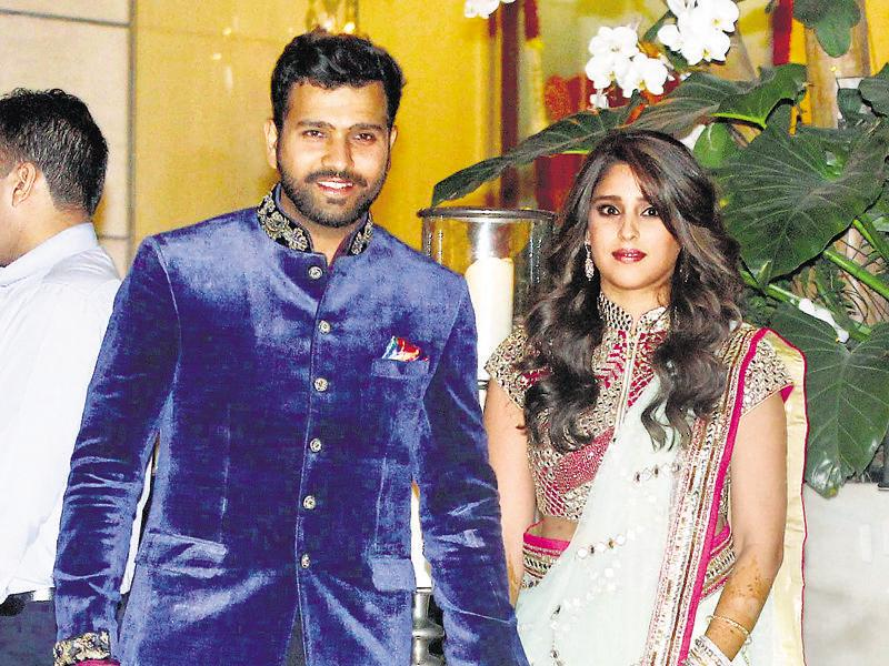 Indian cricketer Rohit Sharma with Ritika Sajdeh. The couple will tie the knot on Sunday. (HT Photo)