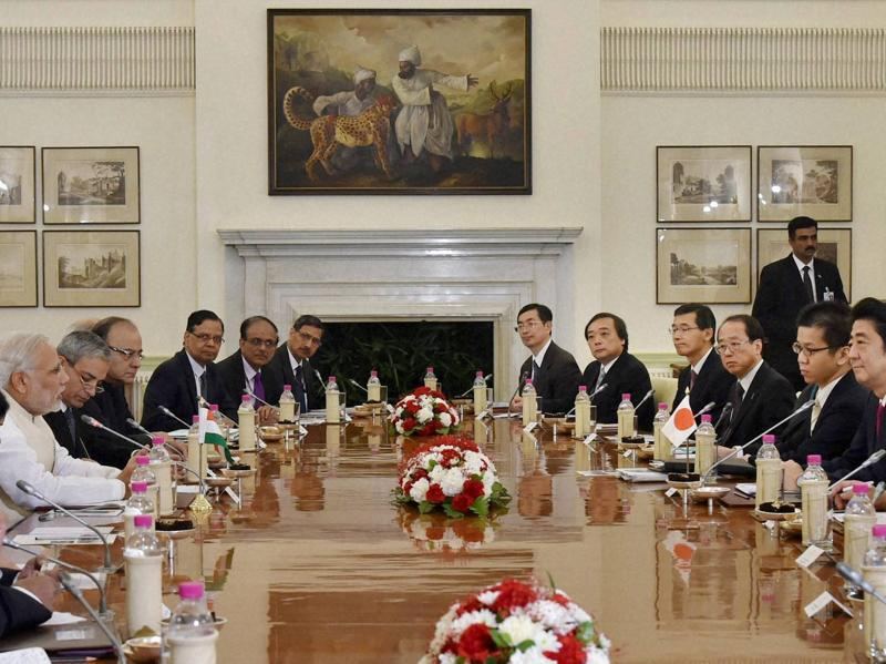 A delegation level meeting between PM Narendra Modi and his Japanese PM Shinzo Abe at Hyderabad House in New Delhi on Saturday. (PTI)